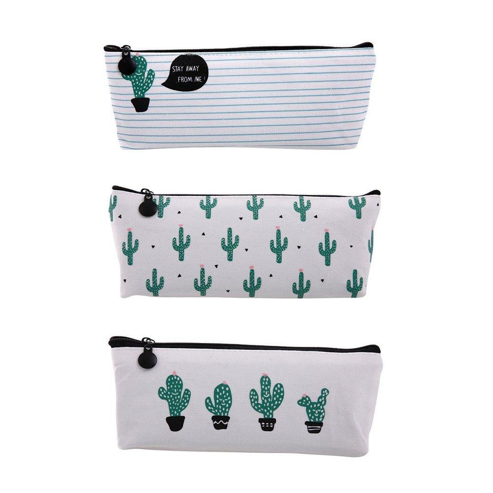 NUOLUX Sacchetto di trucco cosmetico del sacchetto della borsa della moneta della matita della penna dell'allievo della penna dello studente di 3Pcs Cactus