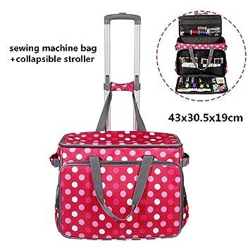 Bolsa de carro de máquina de coser, estuche de almacenamiento de costura portátil con carro de transporte plegable para la mayoría de las máquinas de ...