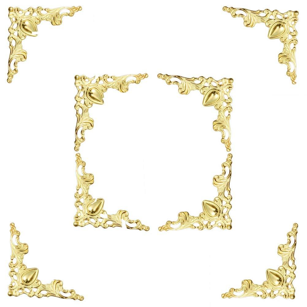 Welldoit 48 pcs Vintage Style Pure Copper Box Corner Protector Guard Desk Edge Cover Corner Decorative (Gold)