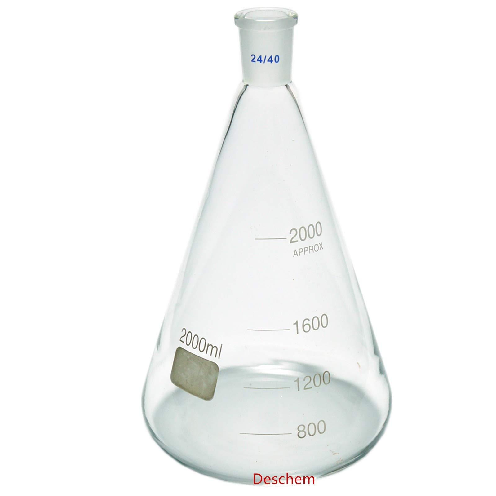 Deschem 2000ml,24/40,Glass Erlenmeyer Flask,2 Litre,Conical Flasks,Laboratory Glassware