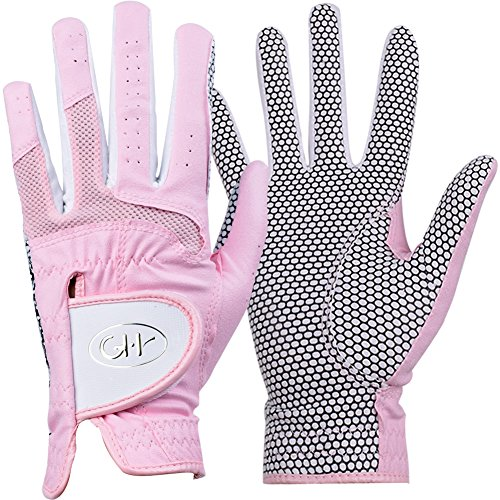 (GH Women's Leather Golf Gloves One Pair - Plain Both Hands (Pink, 20 (M)))