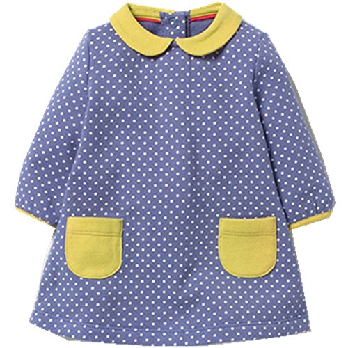 Kids Baby Girls'Pure Cotton Polka Dots Full Sleeve Dress Autumn 2-7 years by Little Maven (Image #6)