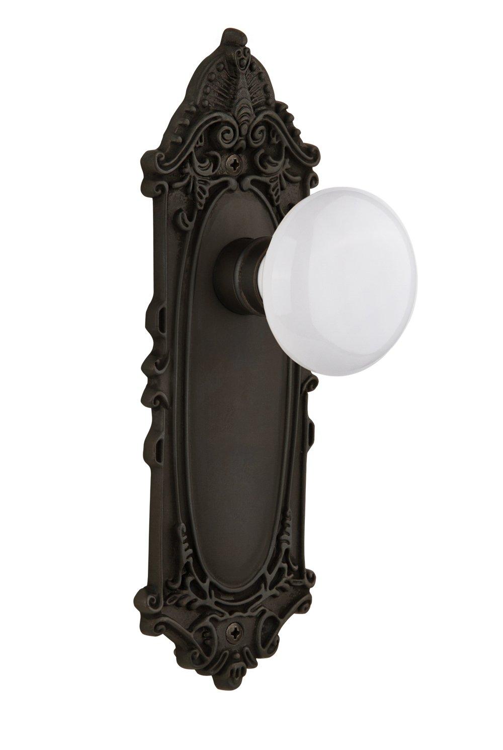 Nostalgic Warehouse Victorian Plate with White Porcelain Knob Satin Nickel Single Dummy