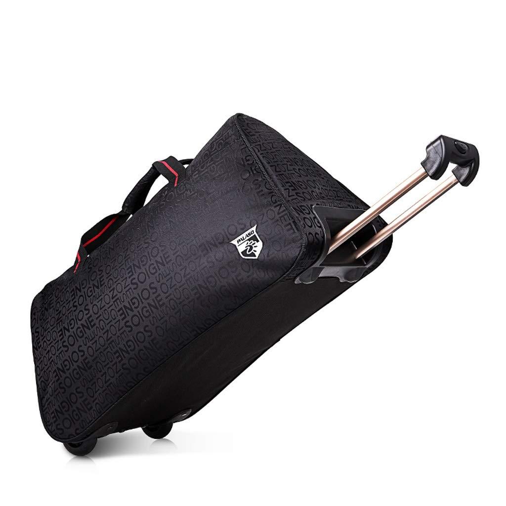 LUJIANJU スタイリッシュで軽量大容量のオックスフォード布トラベルバッグ、ハンド/プッシュプルデュアルユーストラベルバッグ、荷物袋、Foldable LUJIANJU (Color : Black) B07L3DJRBZ Black