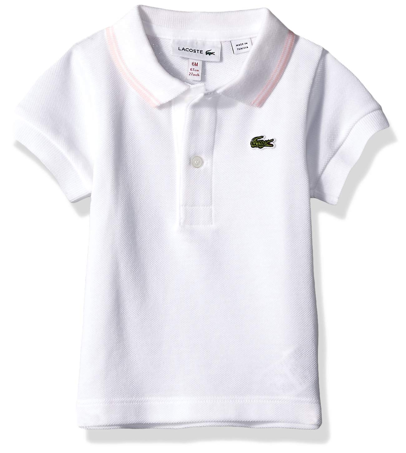 Lacoste Baby Infant Layette Short Sleeve Pique Semi Fancy Polo Gift Box, White Flamingo, 6 Months by Lacoste