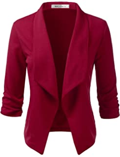 Unifizz Womens Casual Work Blazer Office Pockets Buttons Long Sleeve Suits Jackets Wine Red XX-Large