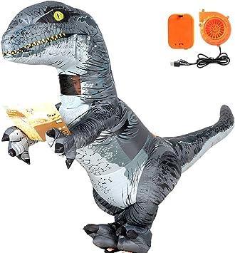 VAMEI Dinosaurio Disfraz Inflable Velociraptor Disfraz de ...