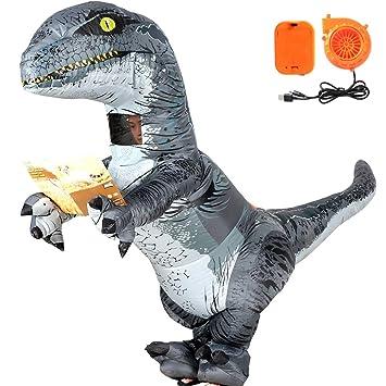 VAMEI Dinosaurio Disfraz Inflable Velociraptor Disfraz de Halloween Adulto Divertido Partido Cosplay Dinosaur Party Outfit