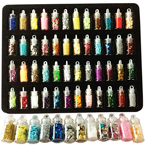 [Happlee 48 Cols 3D Nail Art Decoration Mini Bottles, Original Stationery Extra Fine, Richest Styles on AMAZON for Art Projects School or Home, Scrapbooking, Face, Nail, Eye Art, DIY] (Costume Caviar)