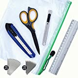 MyWay Cutting Set-Utility Knife, 30 Degree Box Cutter, Heat Treated Scissors, Aluminum Alloy Ruler, SK-5 Replacement Blades, Zipper Pouch for Crafts, School, Office, Scrapbooking DIY Tools Kit