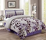 Purple Duvet Covers and Curtains 3-Piece Dark Purple/ Lilac / Grey Fine Duvet Cover Set KING SIZE - Brushed Microfiber - Luxury, Ultra Soft and Durable