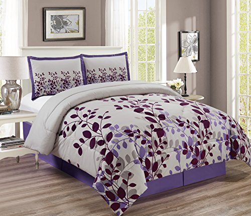 3-Piece Dark Purple/ Lilac / Grey Fine Duvet Cover Set KING SIZE - Brushed Microfiber - Luxury, Ultra Soft and Durable