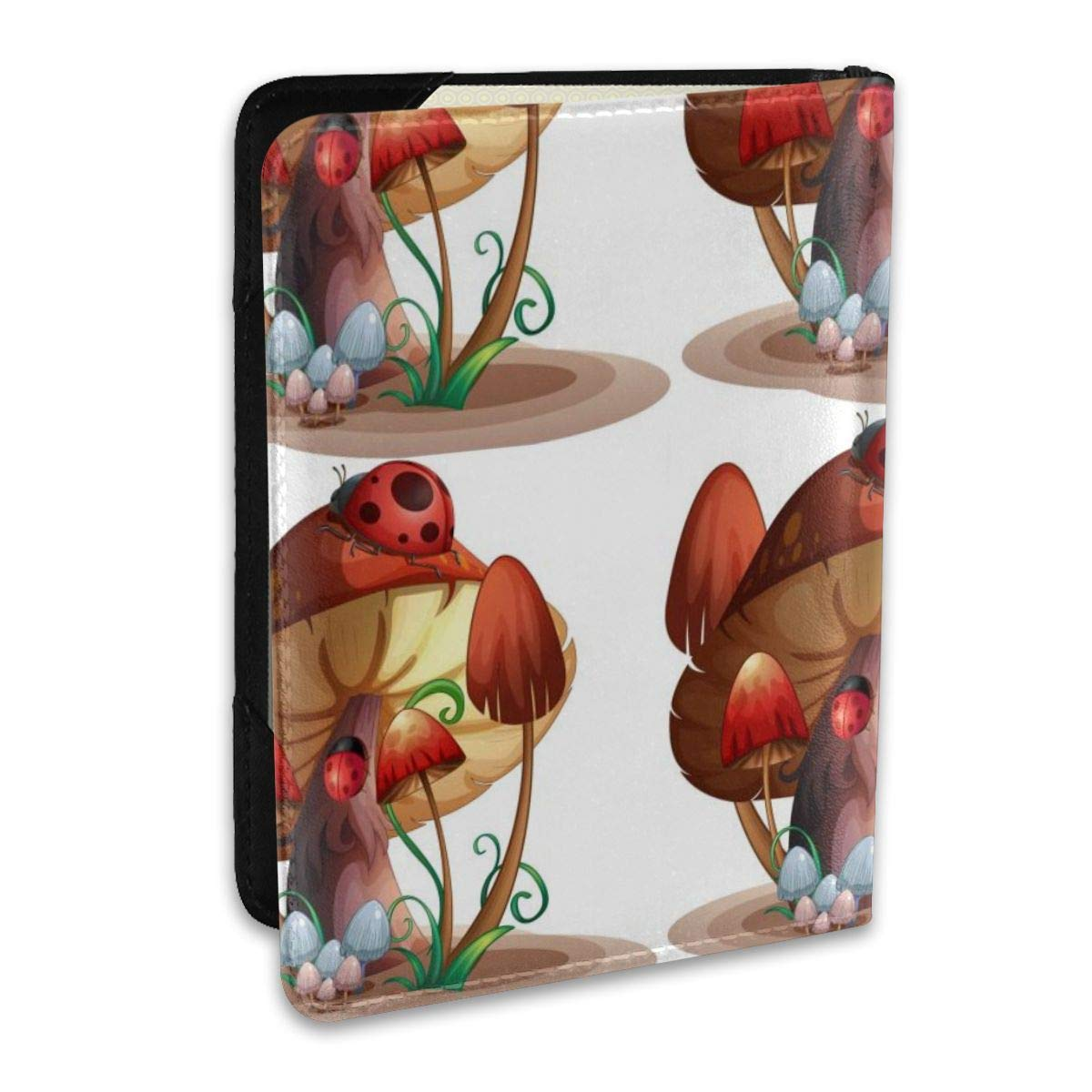 Biahos Leather Passport Cover Mushroom With A Ladybug Wallet For Passport Case