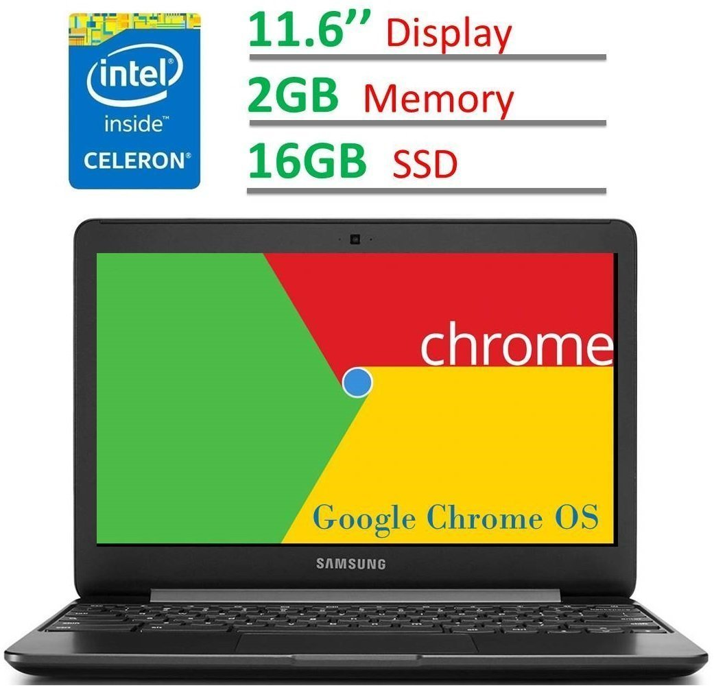 2017 Newest Samsung Chromebook 11.6'' HD LED (1366 x 768) Display, Intel Dual Core Celeron 1.6GHz Processor, 4GB RAM, 32GB eMMC SSD, Bluetooth, WiFi, HDMI, Webcam, Up to 11hrs Battery Life, Chrome OS by Samsung (Image #1)
