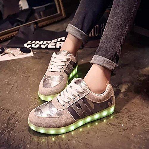 Gaorui Mens Mocka Led-ljus Lysande Kamouflage Sneakers Löparskor Tränare Eu37-42 Grå