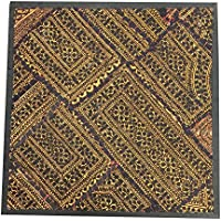 Vintage Embroidered Yellow Wall Hanging Patchwork Sari Tapestry(18x18inch)