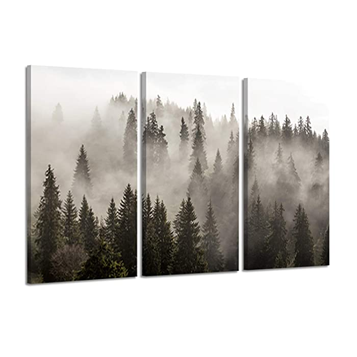 "Natural Landscape Wall Art Paintings: Photographic Artworks Dark Tree line with Foggy Misty Forest Pine Print on Wrapped Canvas for Decoration, Multi-Piece Image (16""x26""x3, Gray Wall Decor)"