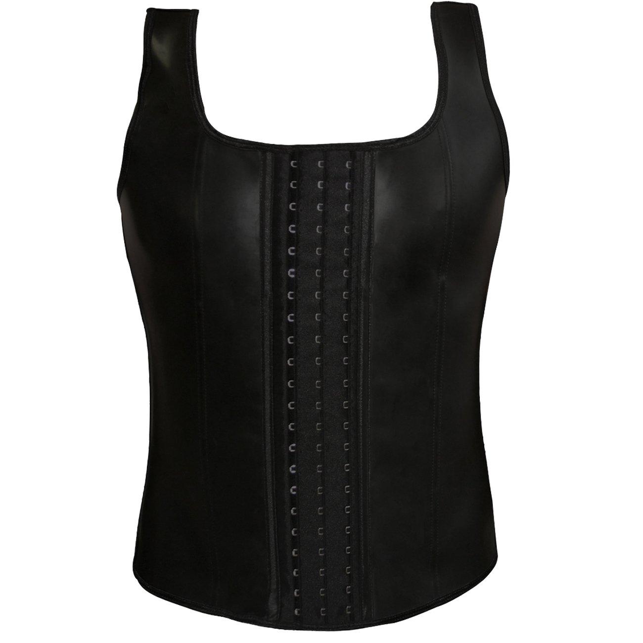 Men's Body Training Tank Top Latex Rubber Corset Vest Waist Shapewear ACME