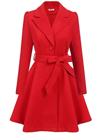 62cfe0a44ef ELESOL Womens Woolen Outwear Trench Long Parka Swing Coat with Belt Red S