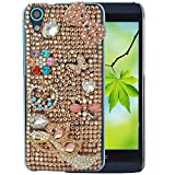 Spritech(TM) Bling Clear Phone For HTC Desire 626,3D Handmade Gold Crystal Bowknot Buttefly Accessary Design Cellphone Cover