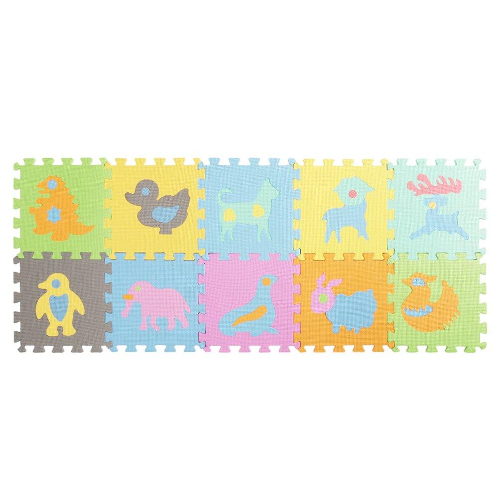 Enjoygous 10PCS Kids EVA Foam Interlocking Puzzle Exercise Play Mat Floor Tiles Pad Playmat for Baby Toddlers - Animal/Alphabet/Number/Fruit, 12'' by 12'' (Animal)