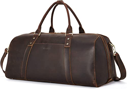 BOSTANTEN Vintage Leather Travel Duffel Bag