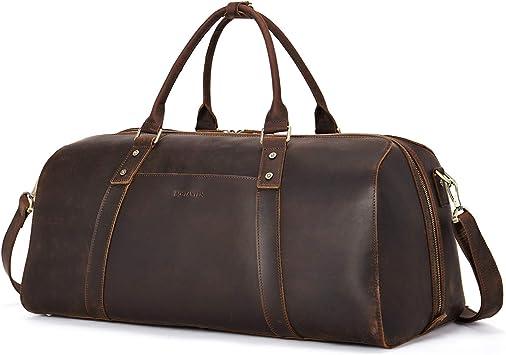 Leather Travel Bag Men/'s Lightweight Duffel Handmade Overnight Vintage Luggage