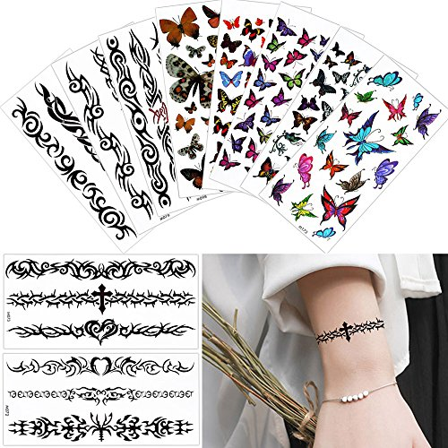 10 Sheets Butterfly Beauty Temporary Waterproof Tattoo Sticker for Women Body Makeup free shipping