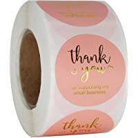 """NSWDYLO Thank You Stickers Roll of 500pcs 1"""" Pink Thank You Seal Stickers Perfect for Business and Boutique Packages…"""