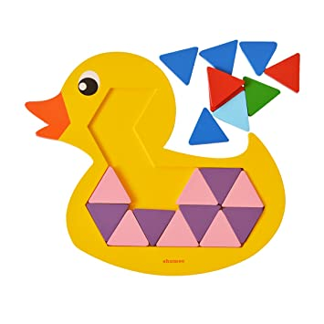 Shumee Wooden 36 Pieces Quack-A-Duck Mosaic Puzzle (3 Years+) - Colors & Counting