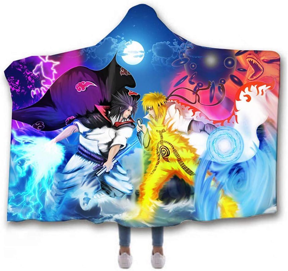 per adulti motivo anime SK-PBB Naruto A01,100 x 130 cm Coperta invernale con cappuccio in pile