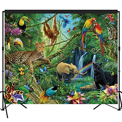 musykrafties Tropical Rain Forest Adventure Scenic Backdrop Large Banner Photography Studio Fabric Background Photobooth Prop 7x6feet #2191 ()