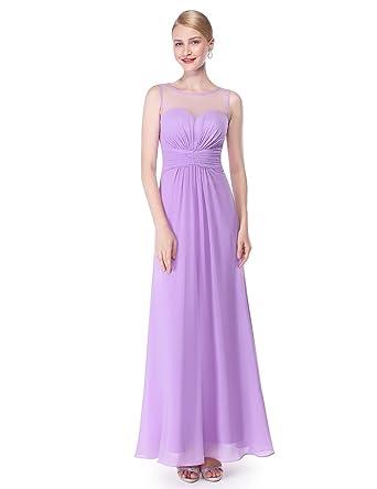Ever Pretty Vestido De Dama De Honor De Gasa Larga Con Cintura Imperio De Mujer 08761