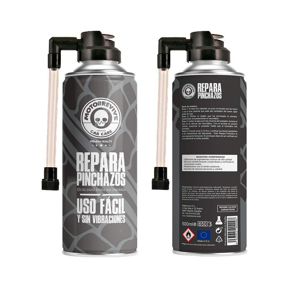 Motorrevive - Repara Pinchazos para Coche y Moto, Sella e hincha la Rueda - 500 ml