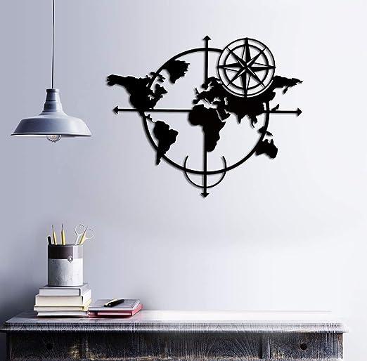 BAUPOR - Brújula de Metal para Pared con Mapa del Mundo, Silueta ...