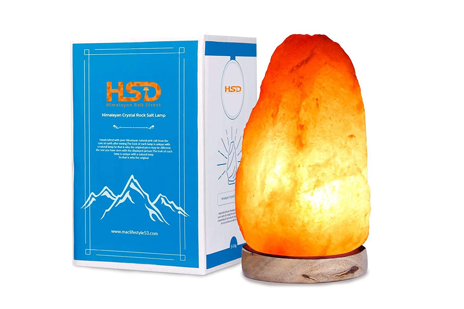 HSD Himalayan Salt Direct B2-300 Natural Himalyan Rock Salt Crystal Lamp | Natural Orange 2-3 KG Lamp Himalayan Salt Lamp Company 2-3kg
