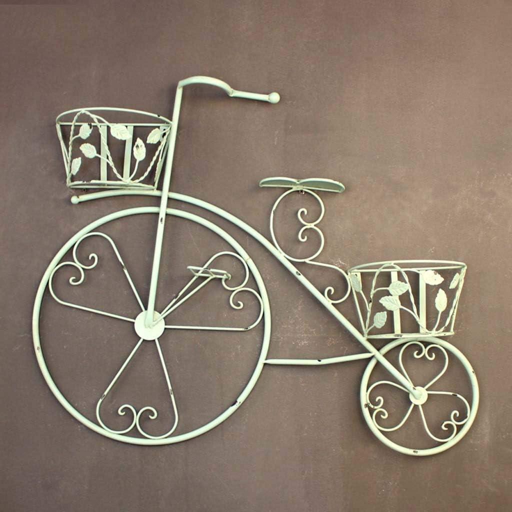 NMDD Hierro Vintage Decoración de Bicicleta Marco de Flores Cesta de Flores Colgante de Pared Balcón Soporte de Flores Colgante Colgante de múltiples Capas Jardinería Colgantes Planificadores Ces