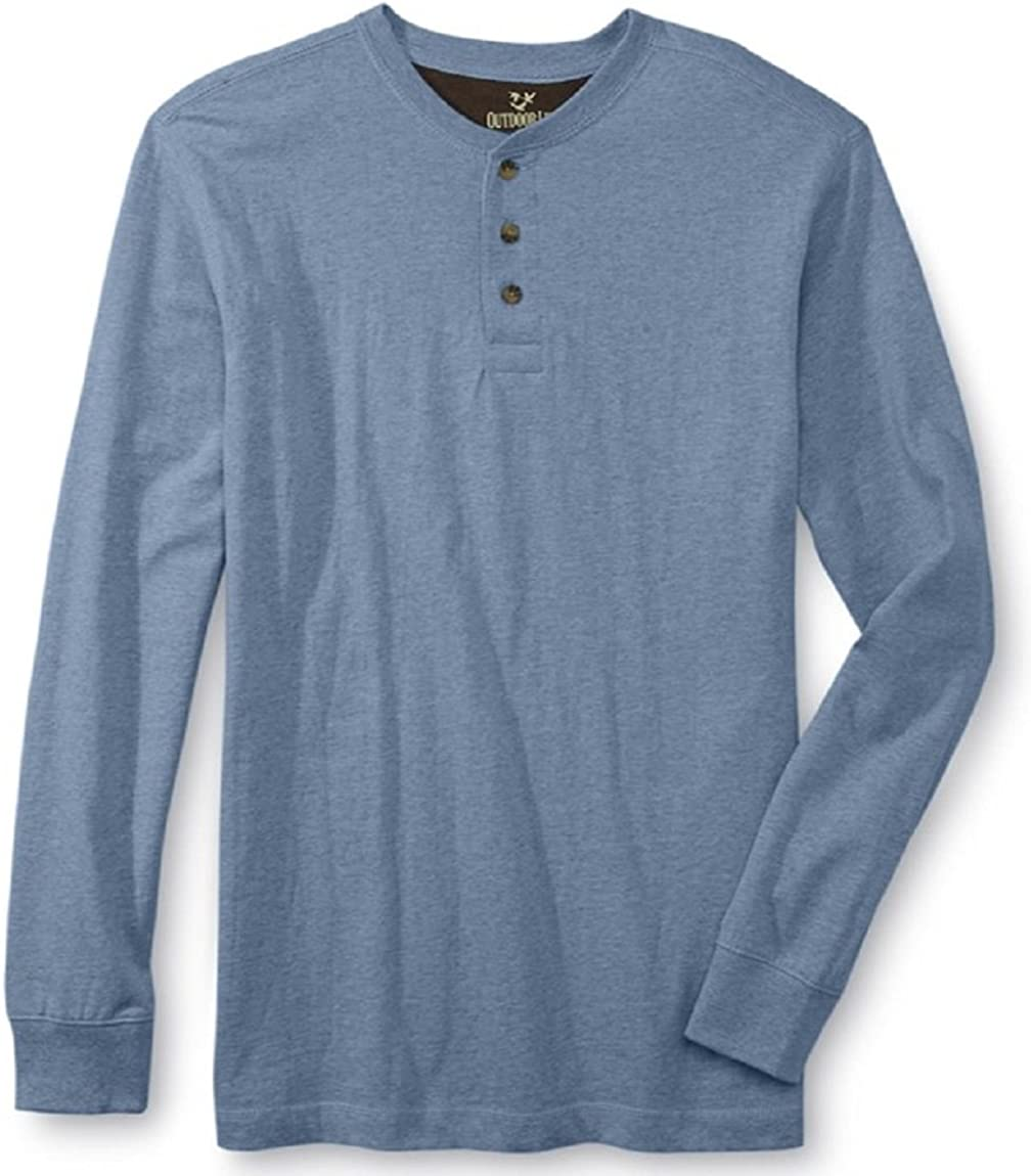 OUTDOOR LIFE Mens S Wilderness Sueded Henley Long-Sleeve Shirt FREE Shipping NEW