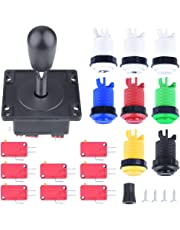 Quimat Joystick Arcade Metálico / 8pcs Microinterruptores 1P / 2P Botones de Inicio / Botones 6pcs para Videojuego MAME Jamma QR01