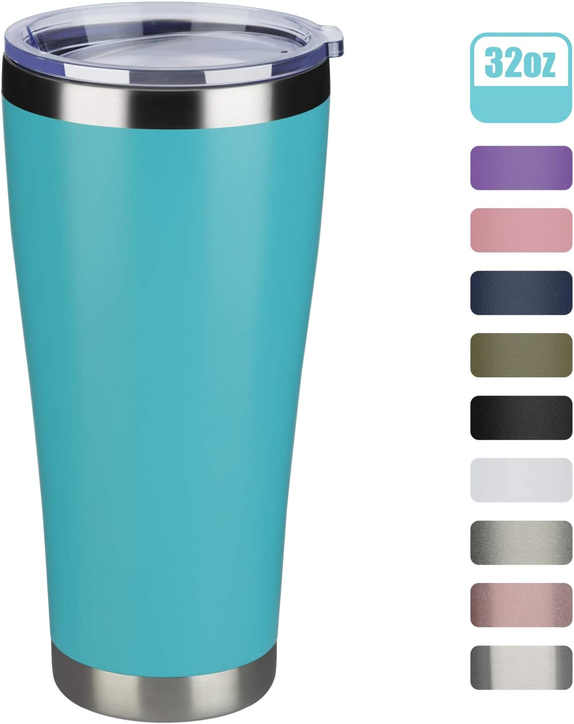 MEWAY 32oz Tumbler Double Wall Vacuum Insulated Travel Mug, Stainless Steel Coffee Tumbler with Lid, Durable Powder Coated Coffee Cup, Keep Drinks Cold & Hot (Light Blue, 1 pack)