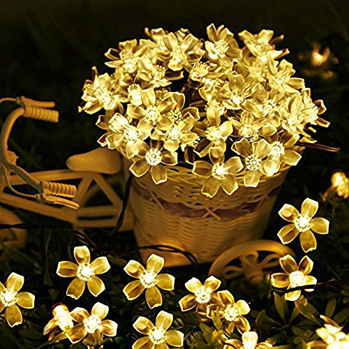 AWART Fairy String Lights Christmas Decorative Lights 33 feet 100 LEDs 8 Flash Modes Tail Plug Connectable Cherry Flower Decoration Novelty Light for Party, Patio, Chirstmas, Garden, Home and Garden -