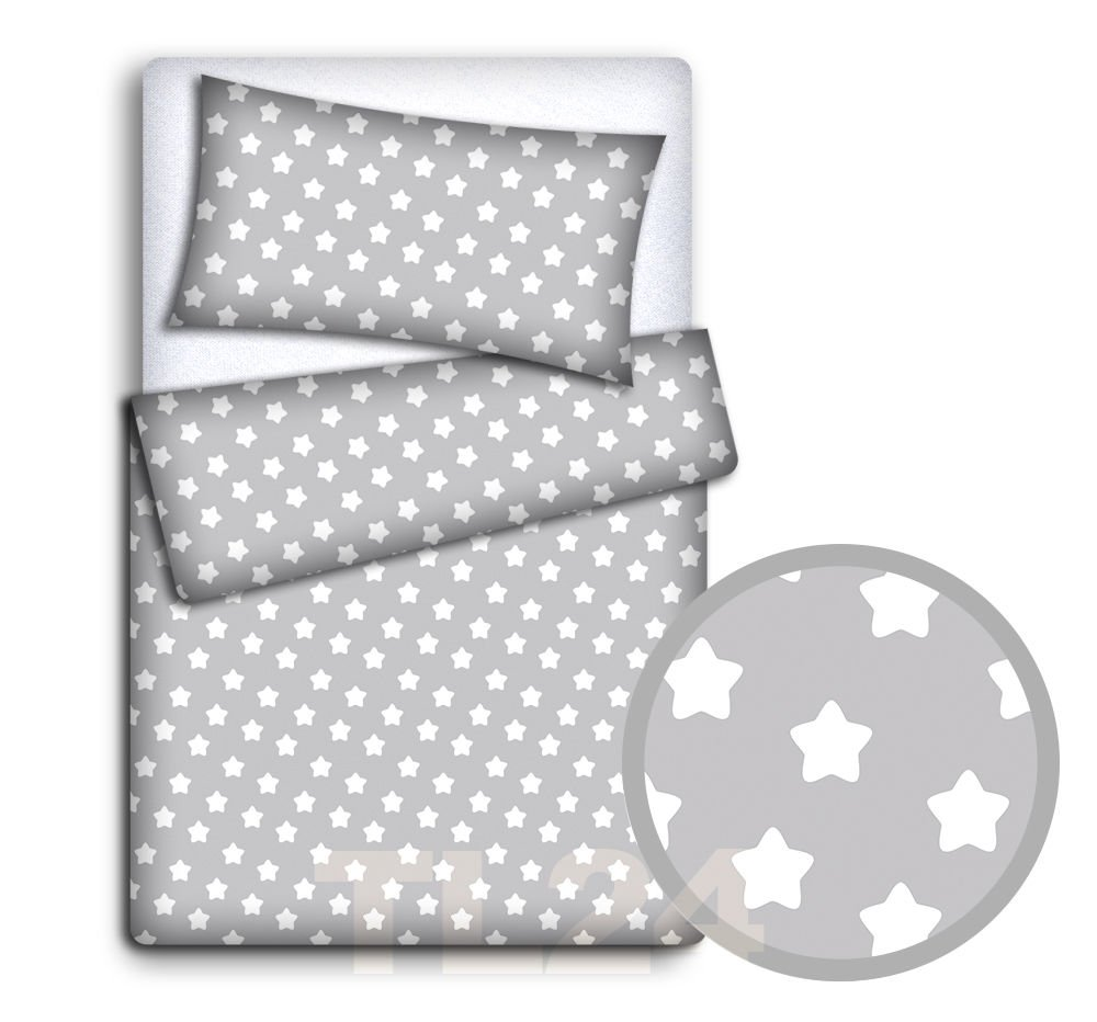 Baby Bedding Set Pillowcase + Duvet Cover 2PC to FIT Baby COT (Big White Stars on Grey Background) Babymam