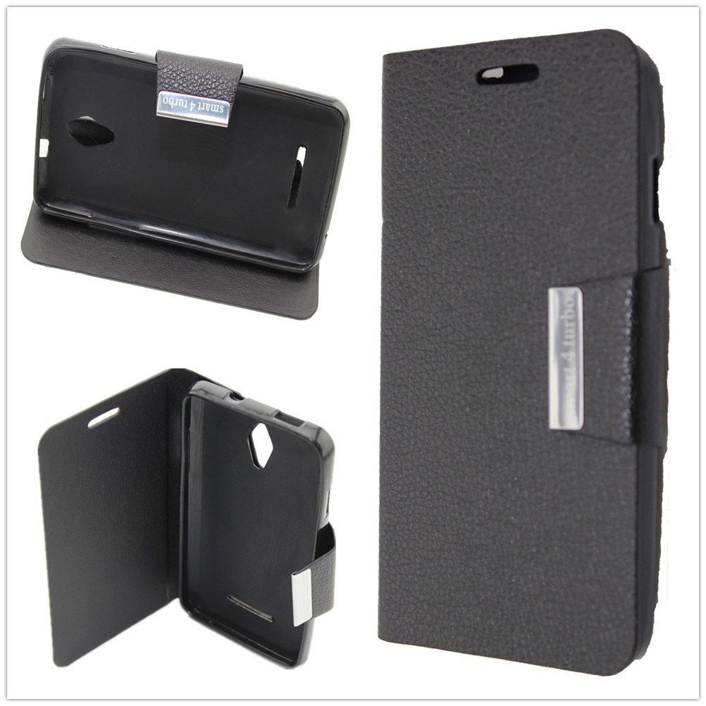 Misemiya ® | Funda Vodafone Smart 4 Turbo Libro Cuero Agenda Soporte Negro: Amazon.es: Electrónica