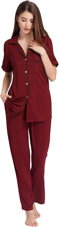 Zexxxy Ensemble de Pyjama en Coton pour Femmes Haut /à Manches Courtes et Pantalons de Pyjamas Style Pyjama PJS