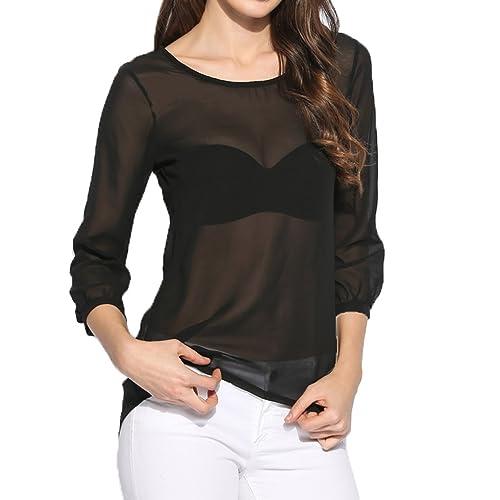 Nilover - Camisas - para mujer negro negro Small