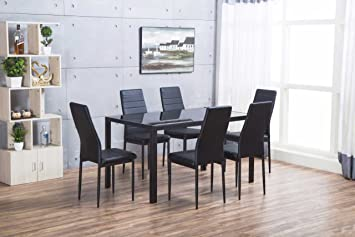 Furniturebox Uk Roma Luxury Black Modern Glass Dining Table And 6