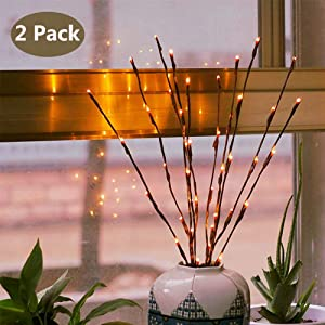 Branch Lights - Led Branches Battery Powered Decorative Lights Willow Twig Lighted Branch for Home Decoration - 20 Inches 20 LED Lights Warm White (Vase Not Included)