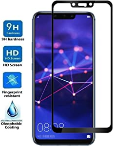 REY Protector de Pantalla Curvo para Huawei Mate 20 Lite, Negro, Cristal Vidrio Templado Premium, 3D / 4D / 5D