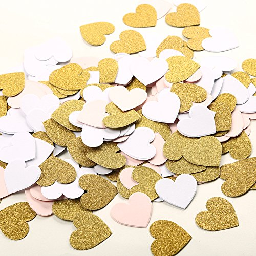 MOWO Glitter Heart Paper Confetti Wedding Party Decor and Table Decor, 1.2'' in Diameter (glitter gold,pink,white mix,200pc)