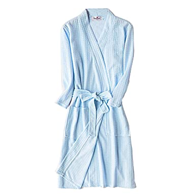 Gaorui Women Men Short Bathrobe Waffle 3 4 Sleeve Lightweight Dressing Gown  Nightwear Belt Couple Robe Summer  Amazon.co.uk  Clothing e73032e79